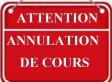 Annulation cours du Jeudi 23 Janvier 2020